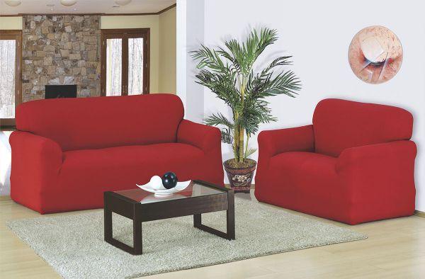 Capa para sofá 2 e 3 Lugares em malha elástica Vermelho - A favorita