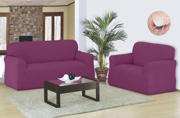 Capa para sofá 2 e 3 Lugares em malha elástica Vinho - A favorita