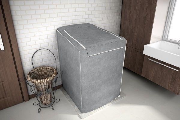 Capa para tanquinho de lavar roupa sem esfregador até 8kg - cor cinza - Adomes