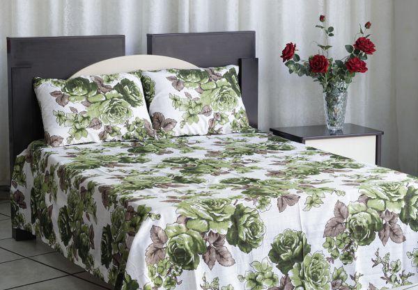 Colcha de casal texturatto estampada Flores verdes com detalhes marrom - OMA Enxovais