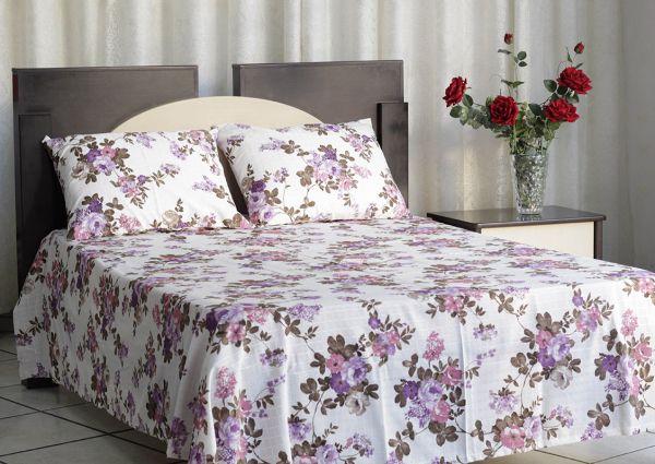 Colcha de casal texturatto estampada Florida lilás - OMA Enxovais