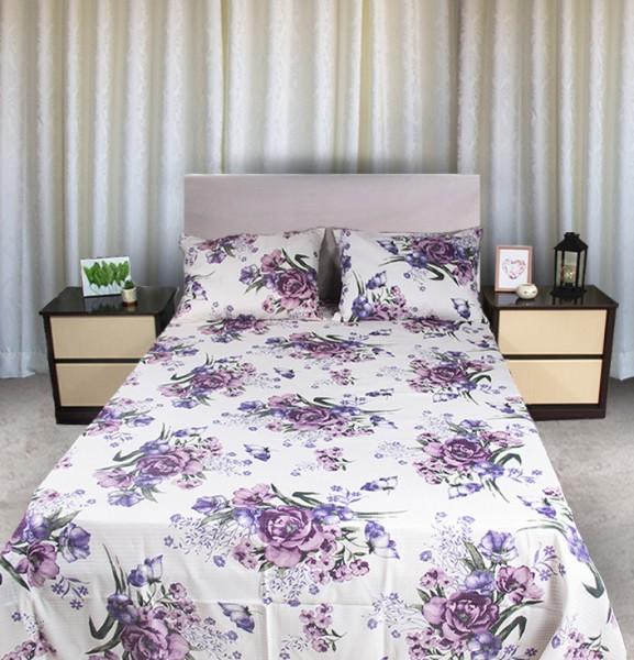 Colcha Queen Piquet estampada Flores Lilás - OMA Enxovais
