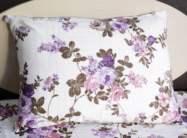Fronha de travesseiro texturatto estampada florida lílas - OMA Enxovais