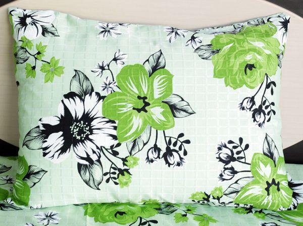 Fronha de travesseiro texturatto estampada florida verde - OMA Enxovais