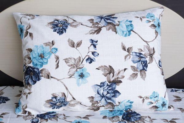 Fronha de travesseiro texturatto estampada floral azul - OMA Enxovais