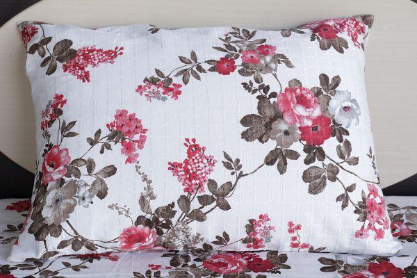 Fronha de travesseiro texturatto estampada florida rosa - OMA Enxovais
