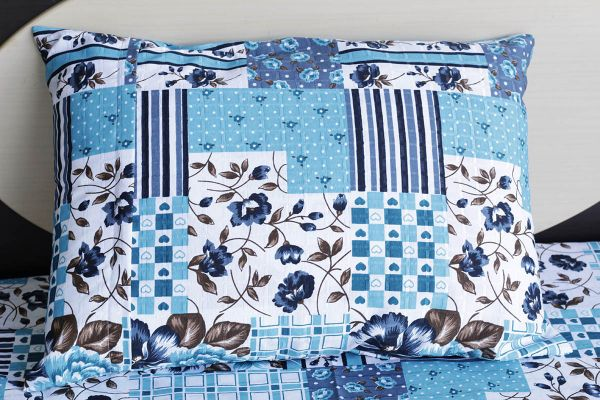 Fronha de travesseiro texturatto estampada floral azul água - OMA Enxovais