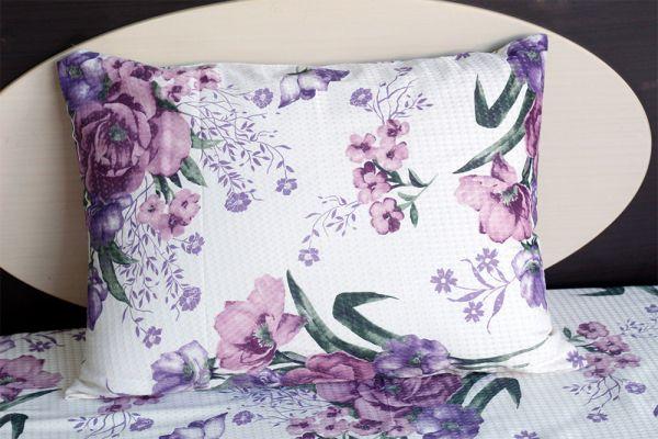 Fronha de travesseiro piquet Flores Lilás - OMA Enxovais