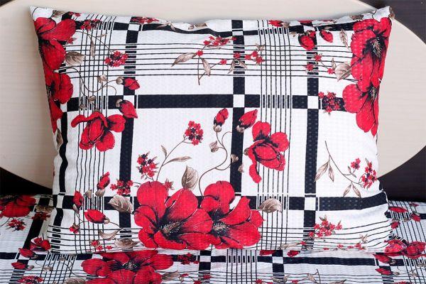 Fronha de travesseiro piquet Florida Vermelha com Listras - OMA Enxovais