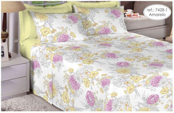 Jogo de cama casal 100% algodão Premium Plus estampado Amarelo com Flores Rosas 7428-1