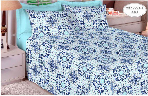Jogo de cama casal 100% algodão Premium Plus estampado Azul 7294-1