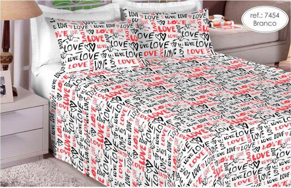 Jogo de cama casal 100% algodão Premium Plus estampado branco com vermelho 7454