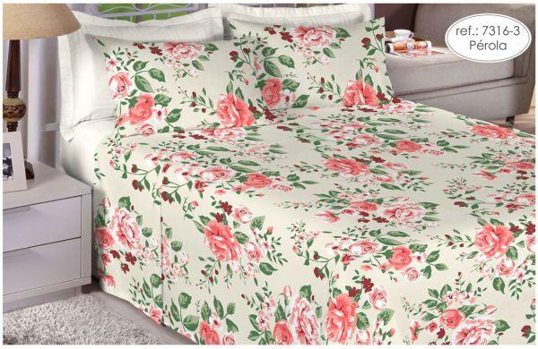 Jogo de cama king size 100% algodão Premium Plus estampado Pérola com Rosas 7316-3