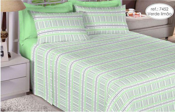 Jogo de cama casal 100% algodão Premium Plus estampado Verde limão 7452