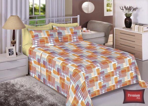 Jogo de cama casal 100% Algodão Ultra Macio -Premium Plus Estamparia - 7315