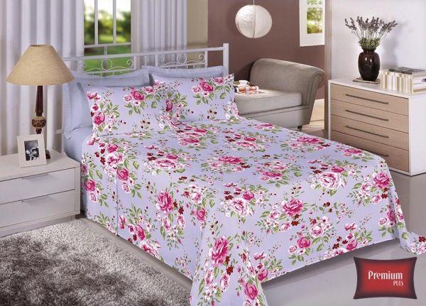 Jogo de cama casal 100% Algodão Ultra Macio -Premium Plus Estamparia - 7316