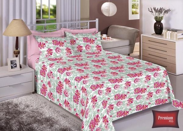 Jogo de cama casal 100% Algodão Ultra Macio -Premium Plus Estamparia - 7317