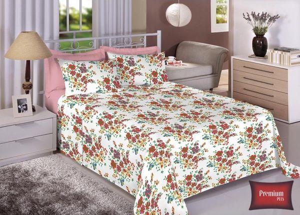 Jogo de cama casal 100% Algodão Ultra Macio -Premium Plus Estamparia - 7323