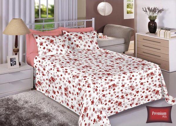 Jogo de cama casal 100% Algodão Ultra Macio -Premium Plus Estamparia - 7324