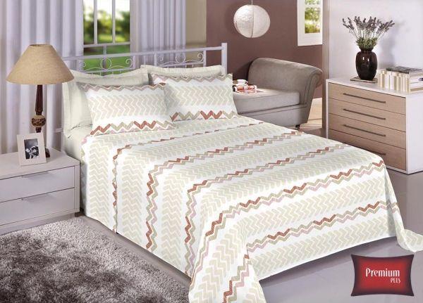 Jogo de cama casal 100% Algodão Ultra Macio -Premium Plus Estamparia - 7325