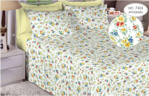 Jogo de cama casal 150 fios 100% algodão estampado - Amarelo Florido 7426