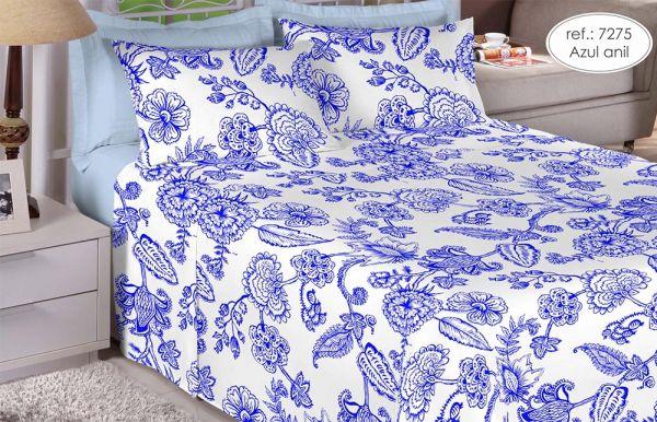 Jogo de cama casal 150 fios 100% algodão estampado - Azul Anil 7275