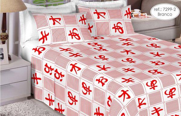 Jogo de cama casal 150 fios 100% algodão estampado - Branco 7299-2
