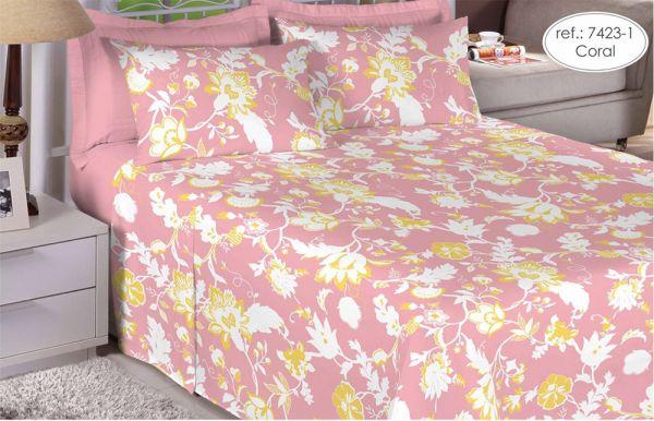 Jogo de cama casal 150 fios 100% algodão estampado - Coral Floral 7423-1