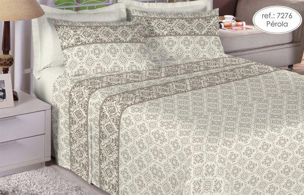Jogo de cama casal 150 fios 100% algodão estampado - Pérola 7276