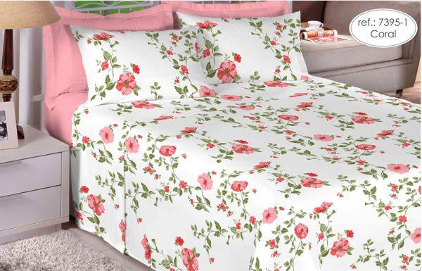 Jogo de cama casal 180 fios 100% algodão Premium Linea estampado Coral com Flores Rosas