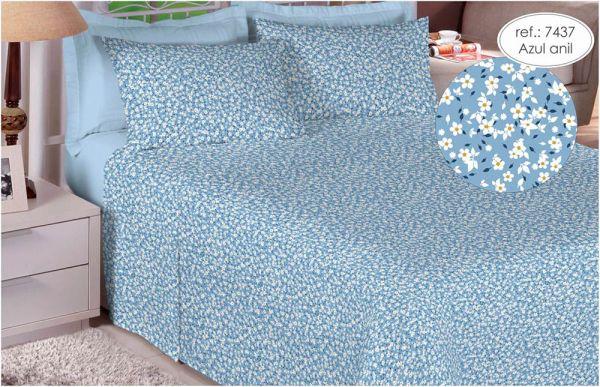 Jogo de cama casal percal 180 fios 100% algodão estampado Florido Azul Anil 7437