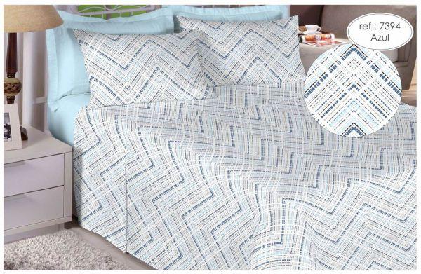 Jogo de cama casal percal 180 fios 100% algodão estampado - Azul 7394