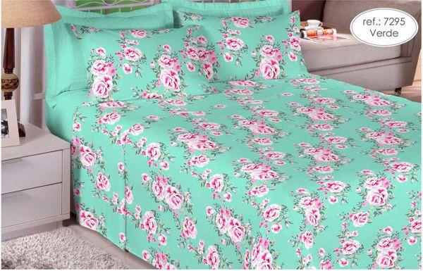 Jogo de cama queen size 180 fios 100% algodão Premium Linea estampado verde com rosa