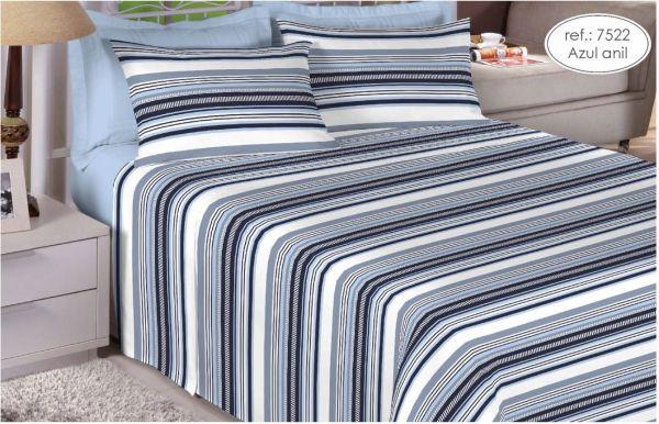Jogo de cama casal 200 fios 100% algodão - estampa azul anil 7522