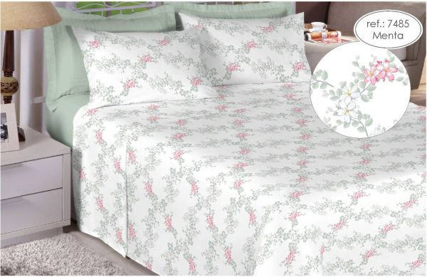 Jogo de cama casal 200 fios 100% algodão - estampado menta 7485