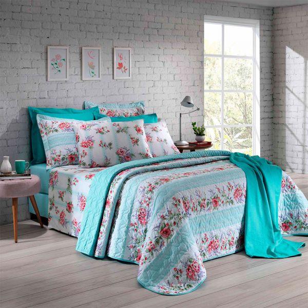 Jogo de cama casal Prata 150 Fios 100% algodão Joana estampado rosas verde água - Santista