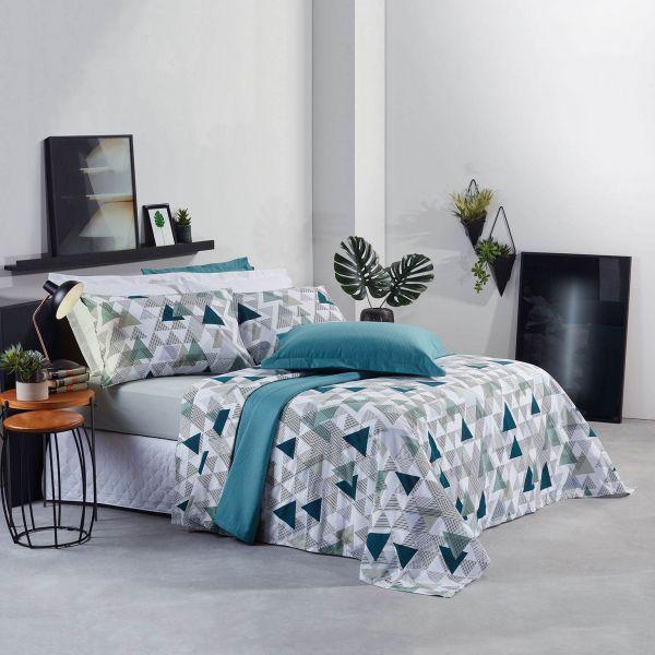 Jogo de cama casal Prata 150 Fios 100% algodão Nell estampado Geométrico - Santista
