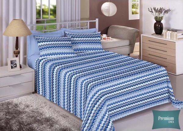 Jogo de cama casal Percal 100% Algodão 180 Fios - Premium Line Estamparia - 7236-1