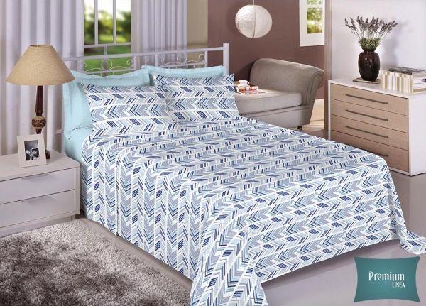 Jogo de cama casal Percal 100% Algodão 180 Fios - Premium Line Estamparia - 7237-1