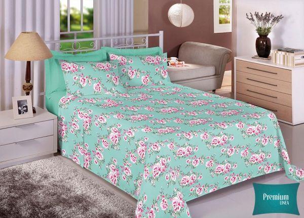 Jogo de cama casal Percal 100% Algodão 180 Fios - Premium Line Estamparia - 7295