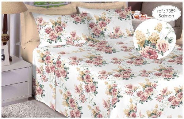 Jogo de cama casal 150 fios 100% algodão estampado - Salmon Floral 7389