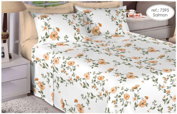 Jogo de cama de casal Percal Linea 180 fios - 100% algodão estampado Florido Salmon