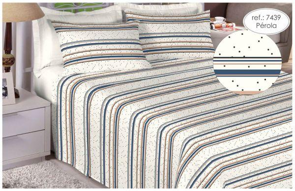 Jogo de cama casal Percal 180 fios 100% algodão estampado Pérola Poá 7439