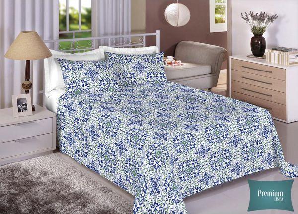 Jogo de cama de casal Percal 180 fios - 100% algodão Premium - Branco 7294