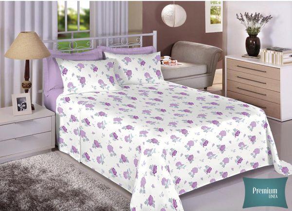 Jogo de cama de casal Percal 180 fios - 100% algodão Premium - Lilás 7234-1