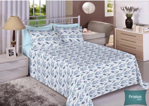 Jogo de cama de casal Percal 180 fios - 100% algodão Premium Linea - Azul 7237-1
