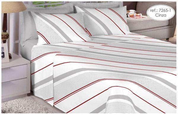 Jogo de cama casal Percal 180 fios 100% algodão estampado - Cinza com Listras 7265-1