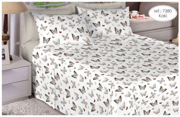 Jogo de cama casal Percal 180 fios 100% algodão estampado - Borboletas 7380
