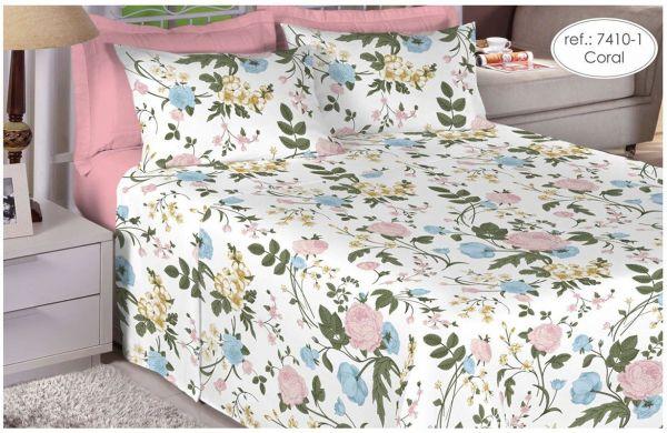 Jogo de cama casal Percal 200 fios 100% algodão estampado Coral Florido 7410-1