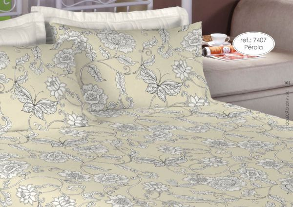 Jogo de cama casal percal 200 fios 100% algodão estampado floral e borboletas 7407